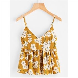 NEW Yellow floral tank, size small